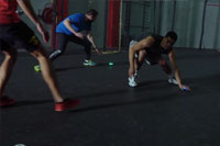 Group fitness training session with BlazePod touch sensor training lights
